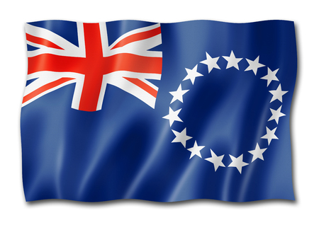 Cook Islands flag, three dimensional render, isolated on white