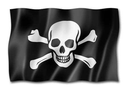 Pirate flag, Jolly Roger, three dimensional render, isolated on white