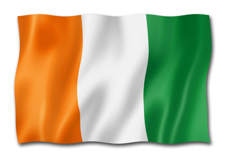 Ivory Coast flag, three dimensional render, isolated on white