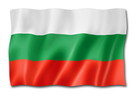 Bulgaria flag, three dimensional render, isolated on white 스톡 콘텐츠