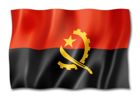 Angola flag, three dimensional render, isolated on white Stock Photo