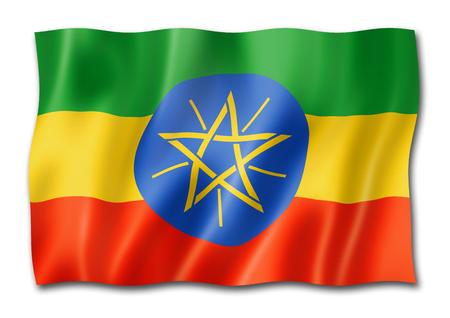 Ethiopia flag, three dimensional render, isolated on white