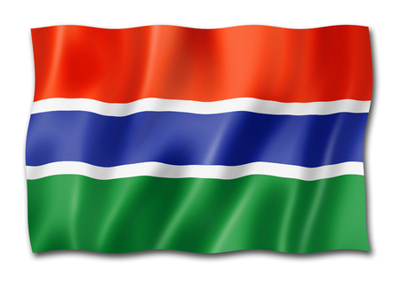 Gambia flag, three dimensional render, isolated on white Stock Photo - 109538239
