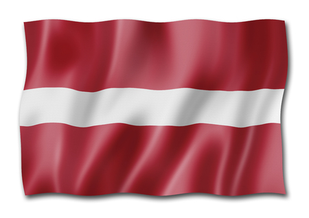 Latvia flag, three dimensional render, isolated on white