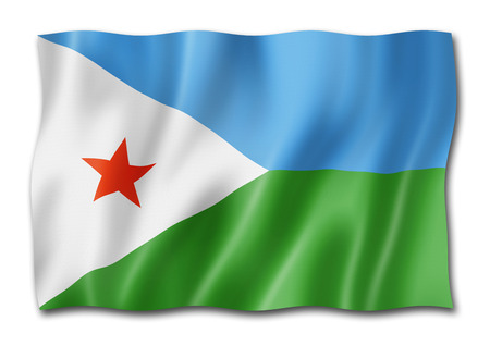 Djibouti flag, three dimensional render, isolated on white