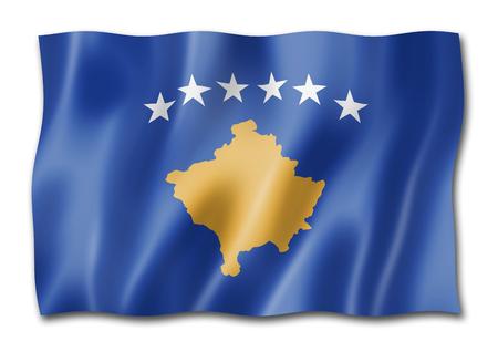 Kosovo flag, three dimensional render, isolated on white Stock fotó