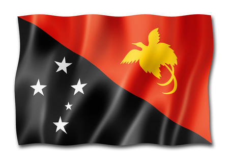 Papua New Guinea flag, three dimensional render, isolated on white