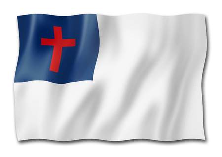 Christian flag, three dimensional render, isolated on white 스톡 콘텐츠