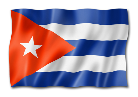 Cuba flag, three dimensional render, isolated on white