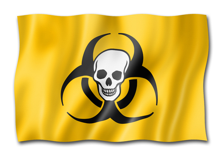 Biohazard death flag, three dimensional render, isolated on white