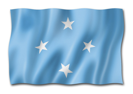 Micronesia flag, three dimensional render, isolated on white