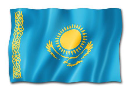 Kazakhstan flag, three dimensional render, isolated on white Stock Photo - 110628494
