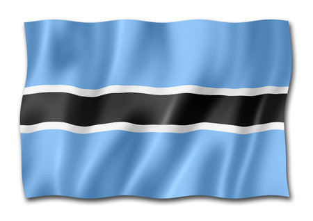 Botswana flag, three dimensional render, isolated on white