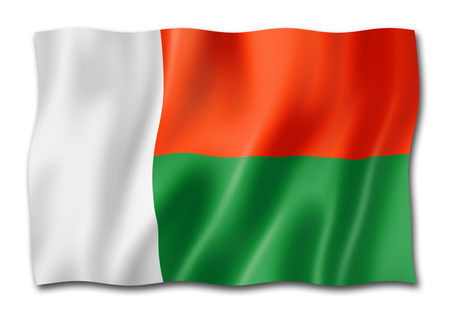Madagascar flag, three dimensional render, isolated on white