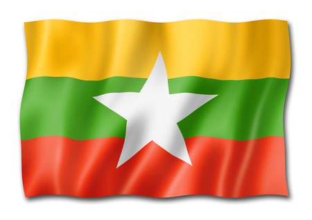 Burma Myanmar flag, three dimensional render, isolated on white