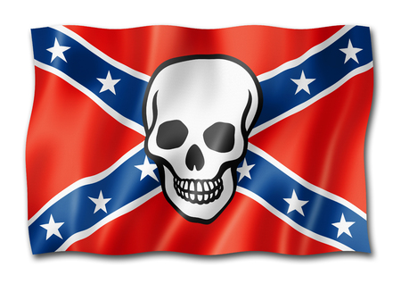Confederate flag with skull, three dimensional render, isolated on white