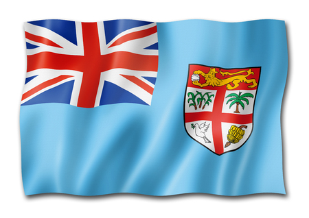 Fiji flag, three dimensional render, isolated on white