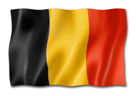 Belgium flag, three dimensional render, isolated on white