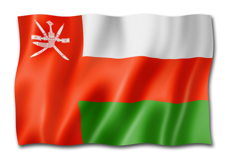 Oman flag, three dimensional render,  isolated on white Stock Photo