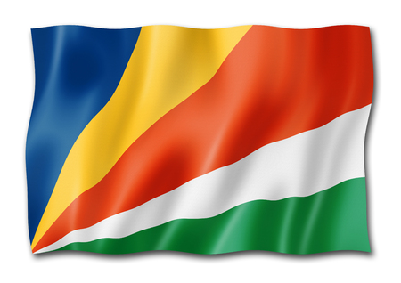 Seychelles flag, three dimensional render, isolated on white Stock Photo