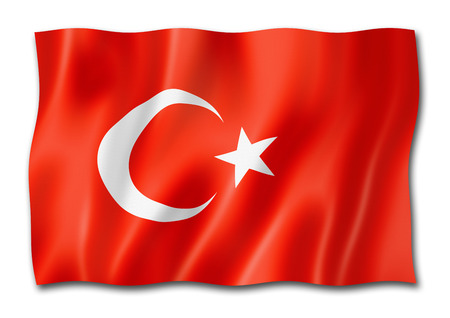 Turkey flag, three dimensional render, isolated on white Stock Photo