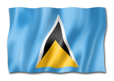 Saint Lucia flag, three dimensional render, isolated on white Stock Photo