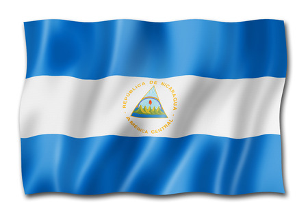 Nicaragua flag, three dimensional render, isolated on white