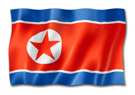 North Korea flag, three dimensional render, isolated on white