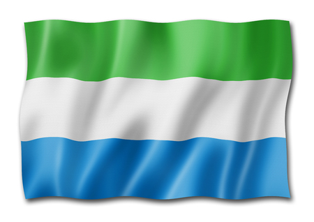 Sierra Leone flag, three dimensional render, isolated on white