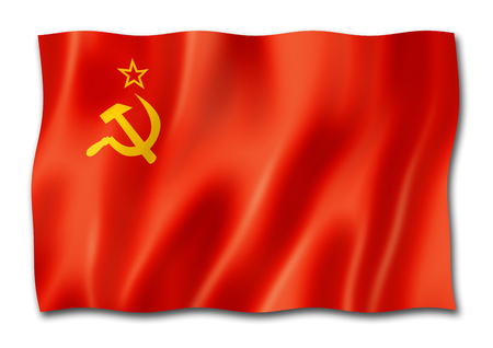 USSR, Soviet Union flag, three dimensional render, isolated on white