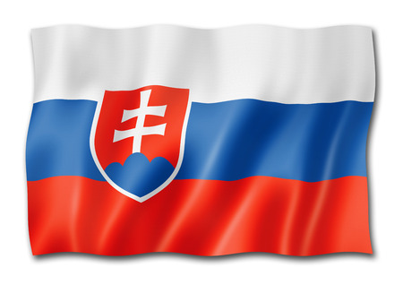 Slovakia flag, three dimensional render, isolated on white Stock Photo