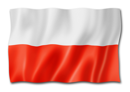 Poland flag, three dimensional render, isolated on white