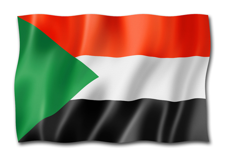 Sudan flag, three dimensional render, isolated on white Stock Photo
