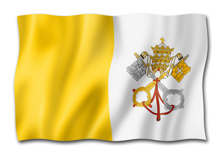 Vatican City flag, three dimensional render, isolated on white