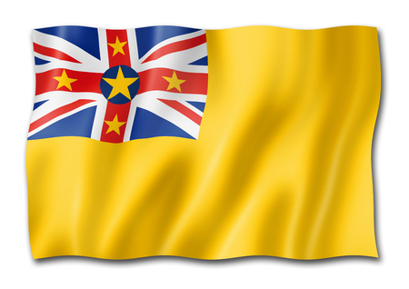 Niue flag, three dimensional render, isolated on white