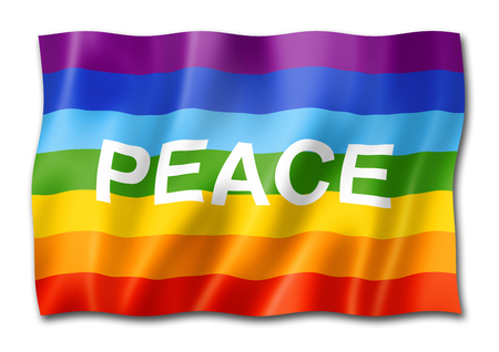 Rainbow peace flag, three dimensional render, isolated on white Banque d'images - 115139426