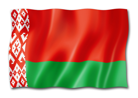 Belarus flag, three dimensional render, isolated on white Banco de Imagens