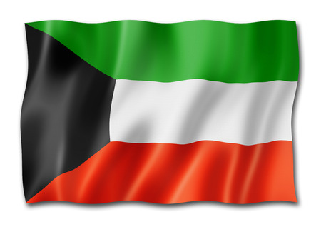 Kuwait flag, three dimensional render, isolated on white Stok Fotoğraf