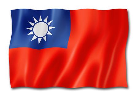 Bandera de Taiwán, render tridimensional, aislado en blanco Foto de archivo