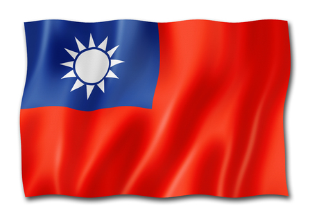 Taiwan flag, three dimensional render, isolated on white 스톡 콘텐츠