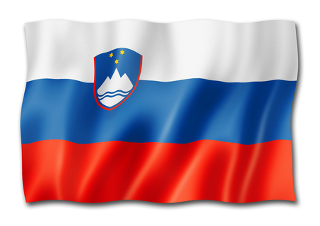 Slovenia flag, three dimensional render, isolated on white