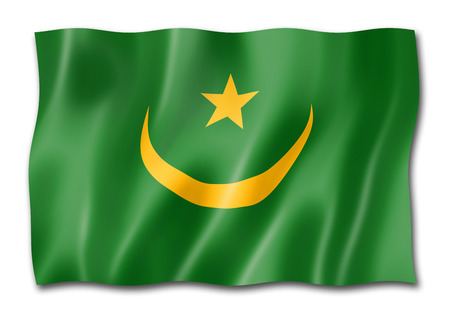 Mauritania flag, three dimensional render, isolated on white