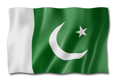 Pakistan flag, three dimensional render, isolated on white