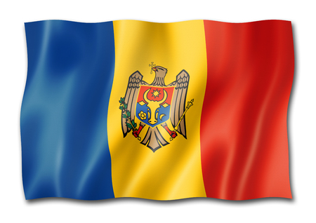 Moldova flag, three dimensional render, isolated on white