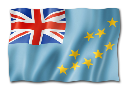 Tuvalu flag, three dimensional render,  isolated on white Stock Photo