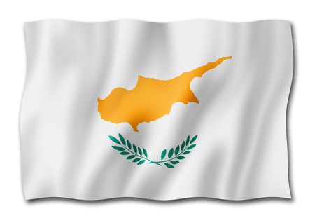 Cyprus flag, three dimensional render, isolated on white