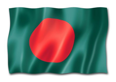 Bangladesh flag, three dimensional render, isolated on white Stock Photo