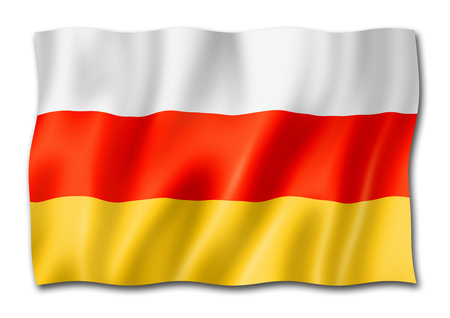 South Ossetia flag, three dimensional render, isolated on white Stock Photo
