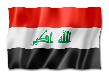 Iraq flag, three dimensional render, isolated on white