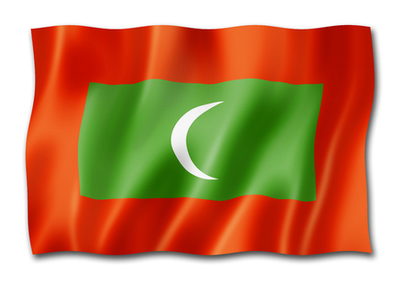 Maldives flag, three dimensional render, isolated on white